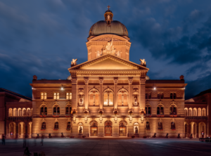 912px-Federal Palace of Switzerland during Blue Hour