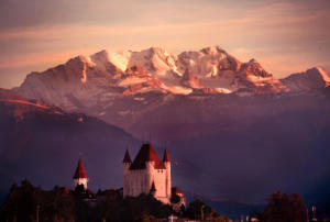 Castle of Thun in front of mountain